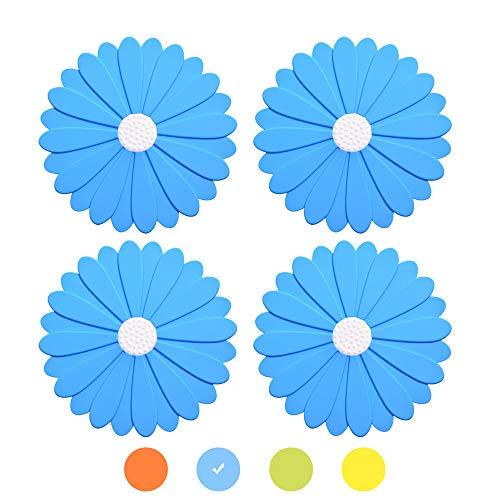 OUCHAN Premium Silikon Flower Topfuntersetzer Set von 4 Hot Pads rutschfeste Topflappen hitzebeständig, flexibel & haltbar 4 Stück (Blau)