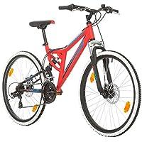"""Bikesport Integral Bicicletta Mountain Bike Doppia Sospensione 26"""", Shimano 21 cambios (Rosso)"""