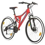 BIKE SPORT LIVE ACTIVE 26 Zoll Bikesport Integral Jungen Fahrrad Mountainbike Fully FSP Alu Rahmen, Shimano 21 Gang Scheibenbremse (Rot Matt)