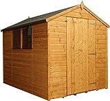 8x6 Shiplap Wooden Apex Garden Shed - Large Single Door & Felt Included - By Waltons