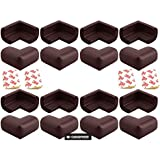0-Degree Baby Safety Furniture Edge Cushion Corner cover Foam Guard with tape Infant Bump Protector (16 Unit , Brown) (CornerGuardFoam16pc)