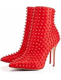 HN Shoes Mujeres Tobillo Botas Stiletto Talón Zapatos Cuero Apuntado Rivet Negro Rojo Otoño Invierno, Red, EUR...