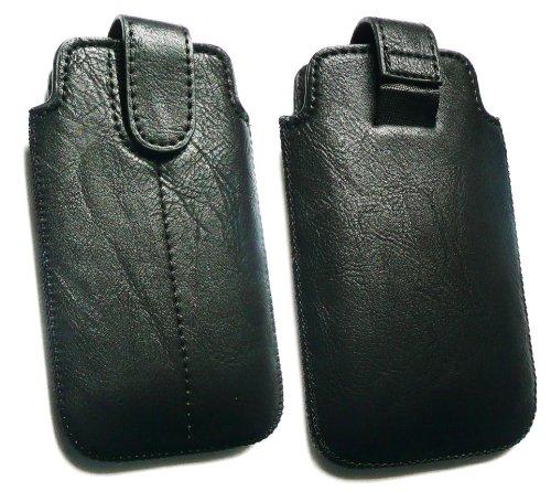 emartbuy ® Motorola Razr XT910 schwarz PU-Leder Secured Slide in Pouch/Case/Sleeve/Holder (Größe 3XL) Mit Pull Tab Mechanismus und LCD Displayschutz