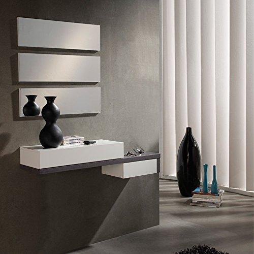 Meuble d'entrée Cendre + miroir - YNANG - L 110 x l 28 x H 27