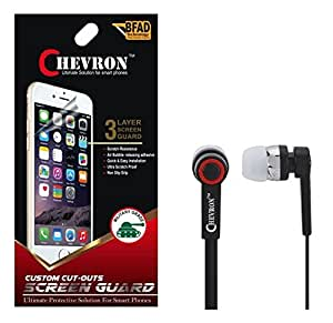 Chevron Ultra Clear HD Screen Guard Protector For Micromax Canvas XL2 A109 With Chevron 3.5mm Stereo Earphones (With Mic)