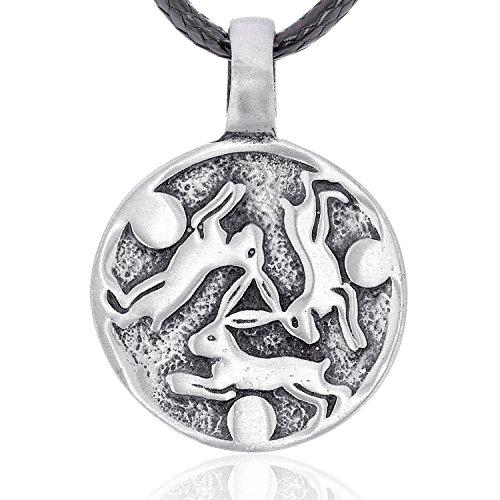 Llords Schmuck Halskette mit keltischem Kaninchen Hasen Anhänger in irischem Knoten Design, feinster Zinn Metall Modeschmuck