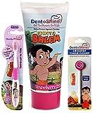 DentoShine Chota Bheem Baby Toothpaste 80gm With Baby Toothbrush With Baby Tong cleaner Baby oral Care combo (Strawberry)