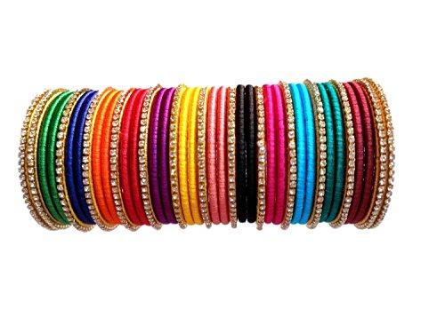 Yoga's Creations Multi-Color Silk Thread Bangle Set for Women