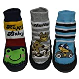 BOMPOW Baby Socks Toddler Kids Anti-slip Slipper Socks for 0-24 Months Boys Girls 3 Pack