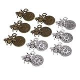 Sharplace 10 Stück Mix Farbe Zahnrad Uhr Mit Bienen Vintage Anhänger Deko Schmuck Charms DIY Basteln für Schmuckherstellung