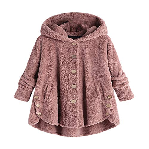 JURTEE Damen Winter 2019 Knopf Mantel Flauschige Schwanz -