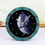 CWLLWC tischuhr standuhr,Kaminuhr Retro-Alten Aquarium Holz Galaxy Galaxy schöne Mond Wecker Desktop-Sitz Uhr