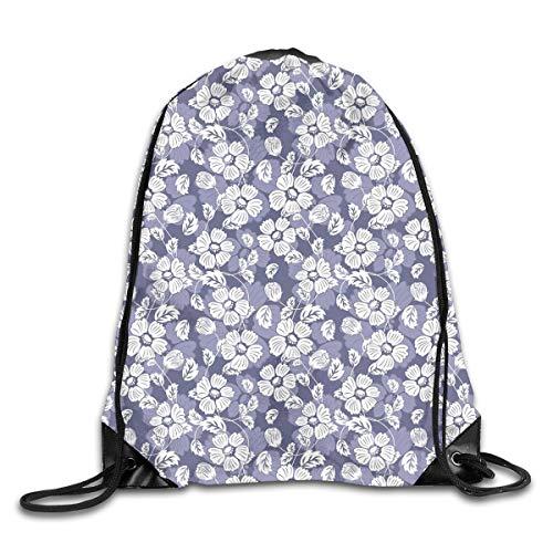 EELKKO Drawstring Backpack Gym Bags Storage Backpack, Spring Season Illustration with Blooming Flower Doodles Serene Nature Motifs,Deluxe Bundle Backpack Outdoor Sports Portable Daypack