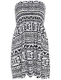 Damen Sommer Boobtube Bandeau Kurzschluss Trägerlose Gedruckte Kleid Größe 36-50