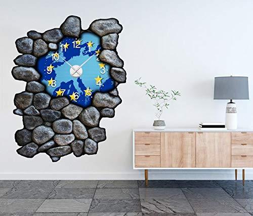 3D Wandtattoo inkl. Uhr 97x120cm Karte Welt EU Europa Sterne Weltkarte Landkarte Aufkleber Wand Sticker Wanduhr Tattoo Wanddurchbruch T0029, Farbe der Uhr:Farbe der Uhr Schwarz (Uhr Wand Welt Landkarte)
