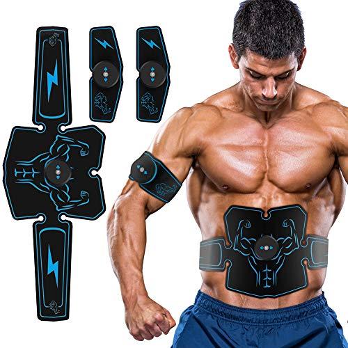 Haofy EMS Bauchmuskeltrainer Muskelstimulator, USB Wiederaufladbar Abs Trainingsgerät für Arm Bauch Beine Bizeps Trizeps, Herren Damen Elektrostimulatorenr 6 Modi zur Muskelaufbau und Fettverbrennung