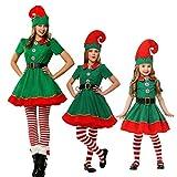 WAOBE Natale Costume Adulto Costume Costumi da Elfo, Donna, Uomo, Ragazzo E Ragazza, Famiglia Verde Elfo Cosplay Costumi Carnevale per Partito,Woman,XXXL160CM