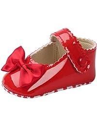 Fossen Zapatos Bebe Niña Primeros Pasos Bowknot Zapatos de cuero Zapatilla antideslizante Suela suave para niños pequeños