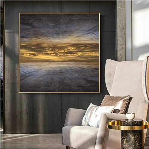 Ywsen Kreative Abstrakte Poster und Drucke Wandkunst Leinwand Malerei Himmel Außerhalb der Hohen Wandbilder für Wohnzimmer Dekor Kein Frame70x70cm