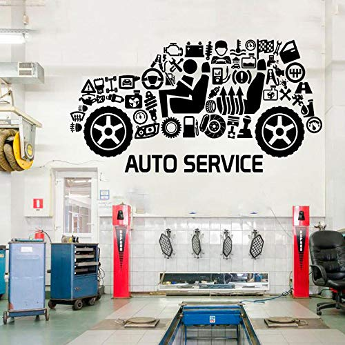 Auto Service Cut Window Sticker, Tires, Repair, Car Washing,Wall Decal, Car-Styling,Handmade Vinyl Sticker Waterproof White M 79x42cm - Adler-thermometer
