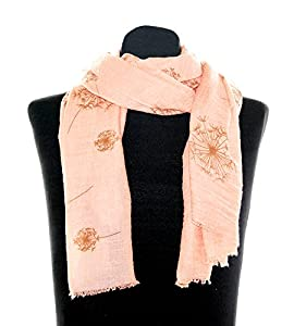 Lachses Damentuch Bettina, ca. 90 x 180 cm, Schaltuch mit orangenen Blumendruck Pusteblume, schickes Damen Halstuch