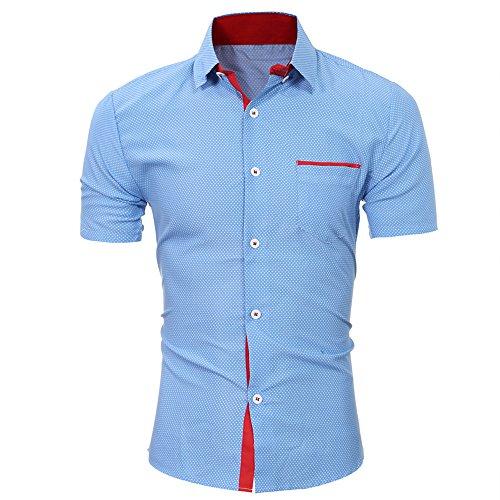 CICIYONER Herren Kurzarm Hemd Kariert Gepunktetes Freizeithemd Baumwolle Businesshemd Mehrere Farben zur Auswahl M-4XL