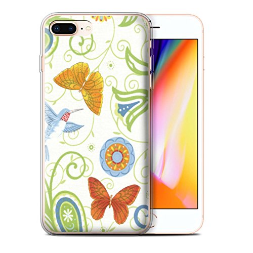 Stuff4 Gel TPU Hülle / Case für Apple iPhone 8 Plus / Grün/Rot Muster / Frühlingszeit Kollektion Grün/Weiß