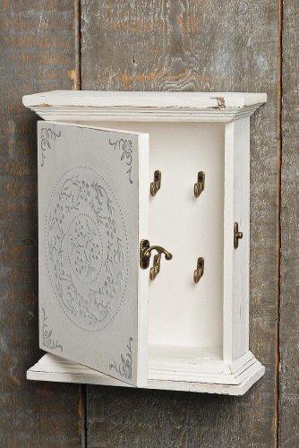 Holzkasten für Schlüssel, Schlüsselkasten Felina in weiß aus Holz, ca. 24 cm x 10 cm x 31 cm