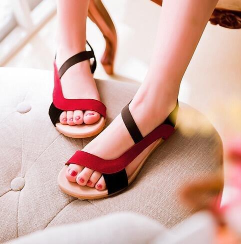 römische Schuhe Damen Sandalen große Yards Rot