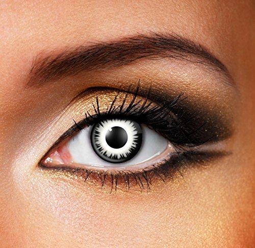 (80381 Paar Kontaktlinsen linsen farbige schwarz weiss eclipse lunar halloween kostüme neu)