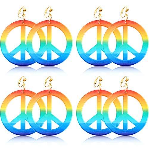 Kostüm Frieden - 4 Paare Frieden Ohrringe Hippie Stil Ohrringe Regenbogen Frieden Zeichen Ohrring 1960's Party Hippie Kostüm Zubehör