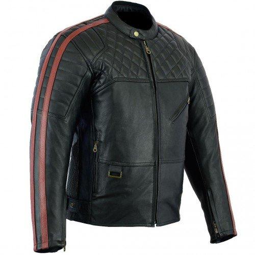 Bikers Gear Australia Limited Red Baron Premium Qulaity Analine morbida giacca in pelle da motociclista CE Armour rimovibile, nero rosso scuro, taglia XL
