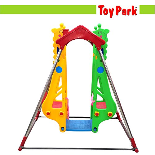 Toy Park Baby Boy's and Girl's Plastic Giraffe Shape Double Swing with Safety Harness (Multicolour)