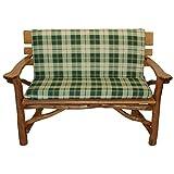 Gartenmoebel Auflage Bank 2-Sitzer Boston grün/beige kariert Bankauflage Stuhl Bankpolster Sitzauflage