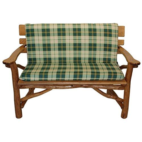 Auflage Bank 2-Sitzer BOSTON grün/beige kariert Bankauflage Stuhl Bankpolster Sitzauflage