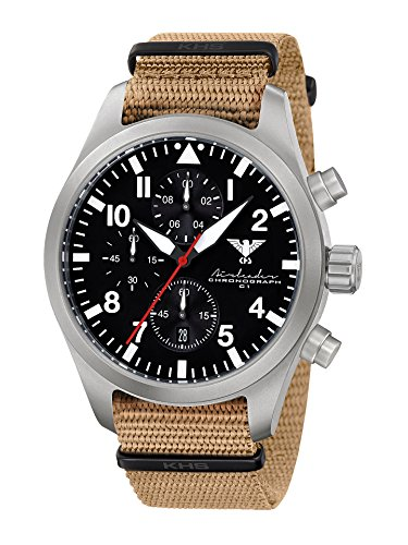 Airleader Steel Chronograph KHS Airsc. NT, Nato Strap Tan, Khs Tactical Watch, Clock, Military Watch, Aviator Watch Stainless Steel