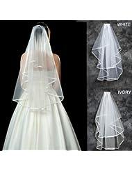myarmor 2couche Ruban bord Coude Cathédrale de mariée mariage voile avec peigne