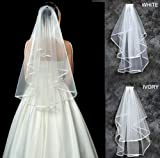 MyArmor Elegant 2 Layer Cathedral Elbow Length Bride Wedding Bridal Veil With Comb & Ribbon Edge (Ivory)