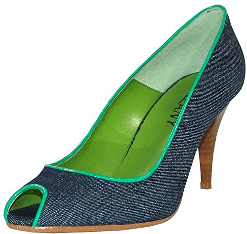 Chillany Peep Toe Pumps jeansblau grün jeansblau grün