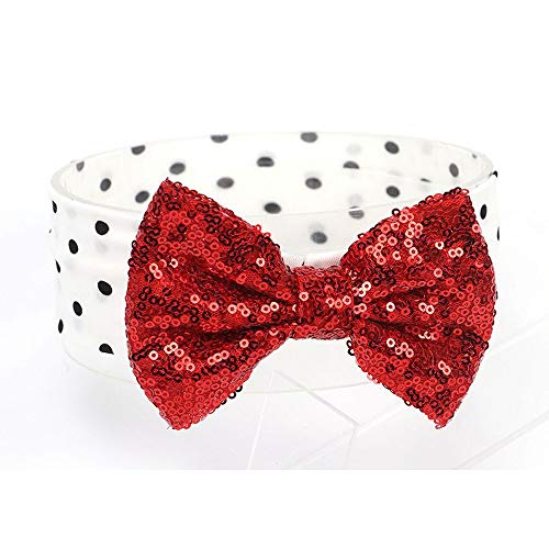 Pret my baby cloth band with polka dots and large sequin bow