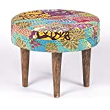 Ikiriya Solid Wood Multicolor Kantha Cushioned Stool - Patchwork Handstitch Kantha; Teak Finish Legs