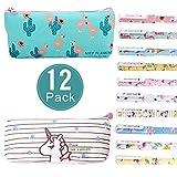 Reastar 2pcs Licorne Flamingo Trousse pour enfants avec 10coloré fine point 0,5mm Pen–Fourniture Scolaire, Trousse de maquillage, Meilleur Licorne/Flamingos cadeaux