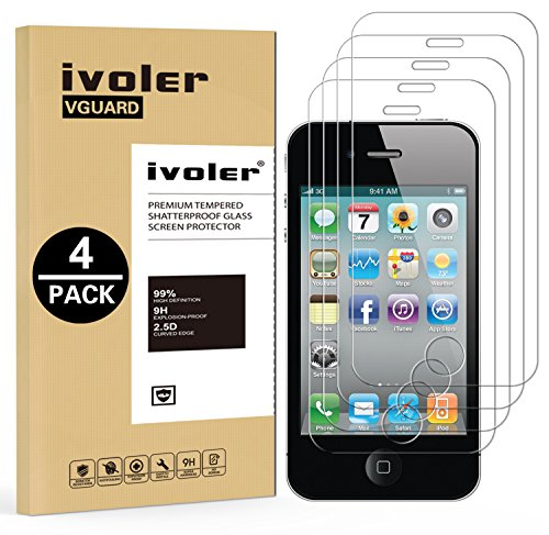 iVoler [Pack de 4] Verre Trempé pour iPhone 4S / iPhone 4, Film Protection en Verre trempé écran Protecteur vitre
