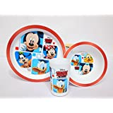 LAZYKARTS® Eco Friendly Mickey Character Print Kids PP Dinnerware Set - 3-Piece Set For Kids And Toddlers - Plate, Bowl And Tumbler That Children Love - Sparks Your Child's Imagination And Teaches Portion Control