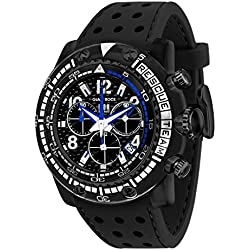 Glam Rock Watches Unisex Quartz Watch with Black Dial Analogue Display and Black Rubber Strap 0.96.2709