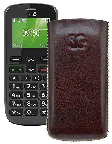 Original Suncase Tasche für / Doro PhoneEasy 508 / Leder Etui Handytasche Ledertasche Schutzhülle Case Hülle *Lasche mit Rückzugfunktion* braun
