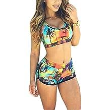 Trajes de Baño Bañadores Bikini Set Mujer Dos Piezas Conjunto Tops y Pantalones Cortos Verde1 L