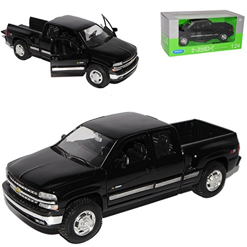 chevrolet-chevy-silverado-1999-pick-up-schwarz-1-24-welly-modell-auto