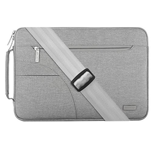 MOSISO Laptop Shoulder Bag Compatible 13-13.3 Inch MacBook Pro, MacBook Air, Ultrabook Netbook Tablet, Polyester Ultraportable Protective Briefcase Carrying Handbag Sleeve Case Cover, Gray