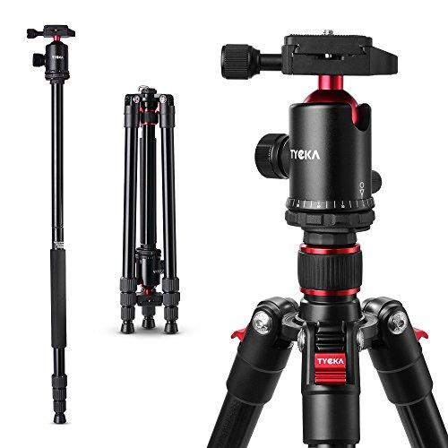 Tycka Leichtes Stativ TK101, bis 1,64m, Belastbarkeit bis 10kg, Aluminiumlegierung, mit 360 Panorama Kugel-Kopf (Durchmesser 36mm), Neue erweiterte Twist-Lock, komfortabel und einfach zu bedienen, für Canon Sony Nikon Kamera Camcorder